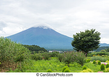 View of the Fuji mountain from the shore under the cloudy sky. Japan