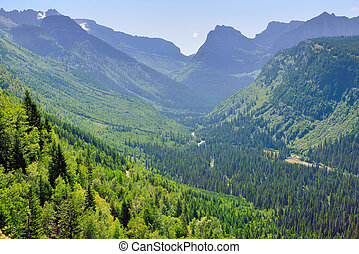 view of the Glacier National Park in summer