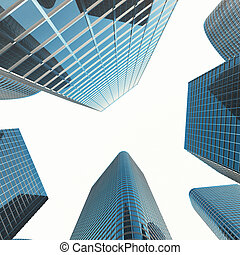 View of the glass building, high-rise building, skyscraper, commercial modern city of future. Economic and financial concept. 3d rendering
