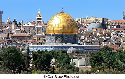 view of the golden Dome of the Rock of Al Aqsa Mosque from the Mount of Olives. Jerusalem, Israel