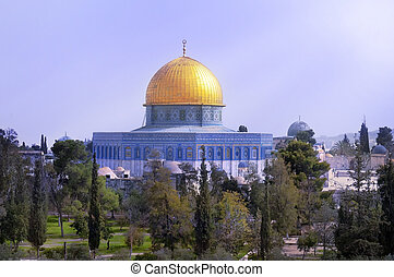 view of the golden Dome of the Rock of Al Aqsa Mosque .Jerusalem, Israel