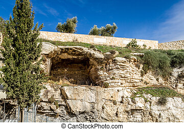 View of the Gordon's Calvary and Skull Hill in Jerusalem, Israel