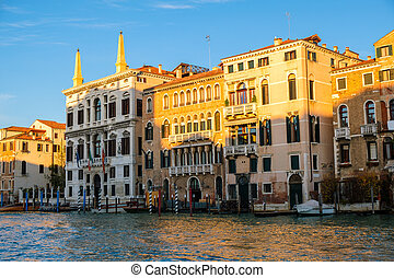 View of the Grand Canal at Venice Italy.