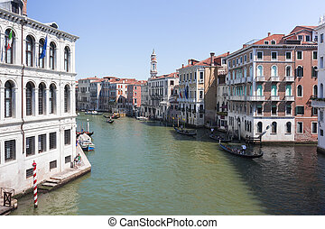 View of the Grand Canal in Venice from the Rialto Bridge
