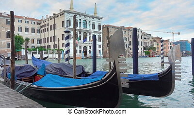 The Grand Canal in Venice with moored gondolas - View of The...