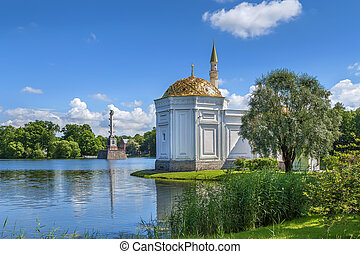 View of the Great Pond in Catherine Park, Russia