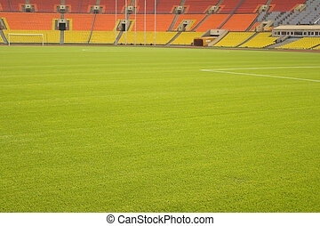 soccer field - View of the green grassy artificial lawn on ...