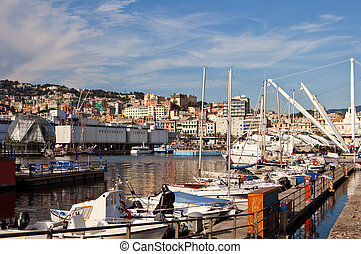 View of the Harbour in Genoa, Italy