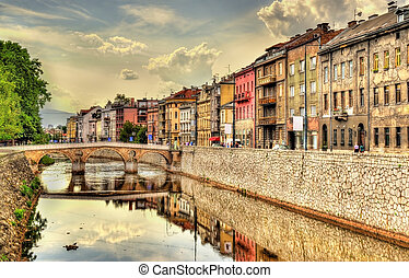 View of the historic centre of Sarajevo - Bosnia and...