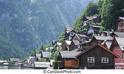 View of the historic town Hallstatt in Austria