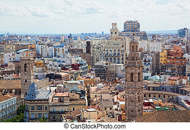 View of the historical center of Valencia from an...