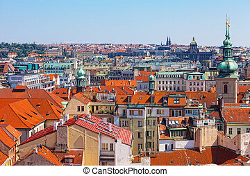 View of the historical districts of Prague from an observation deck