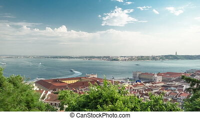 View of the historical Lisbon Baixa downtown and Tagus...