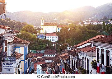 view of the historical town Ouro Preto Brazil - OURO PRETO,...