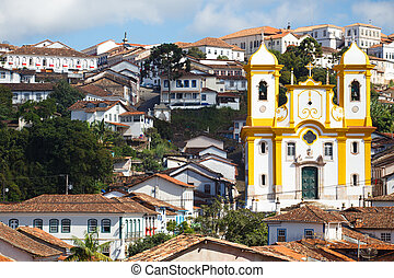view of the historical town Ouro Preto Brazil