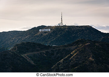 View of the Hollywood Sign from Griffith Observatory, in Los Ang