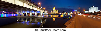View  of the hotel Ukraine, the New Arbat bridge and the House of Government of Russian Federation (the Russian White House) from  Krasnopresnenskaya quay. Panorama.