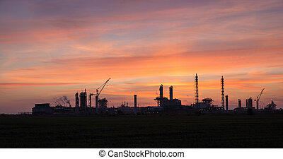 View of the industrial landscape at sunset