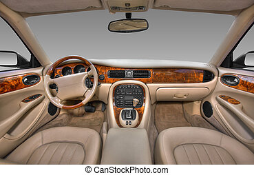 View of the interior of a modern automobile showing the...