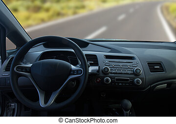 View of the interior of a modern car