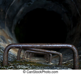View of the interior of a well with an iron ladder leading to the well depth