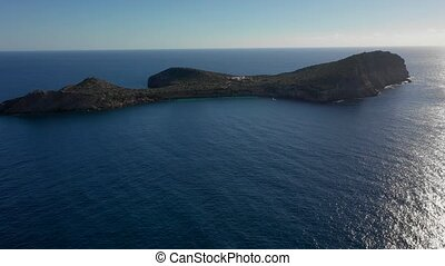 View of the island Illa de Tagomago from a bird's eye view....