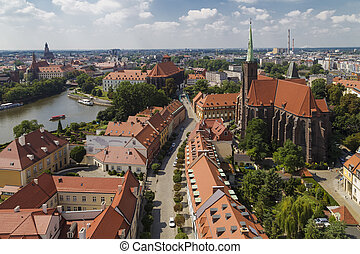 View of the island Tumski from a height. Wroclaw. Poland