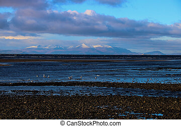 Isle of Arran from Ayr beach Scotland - View of the Isle of...