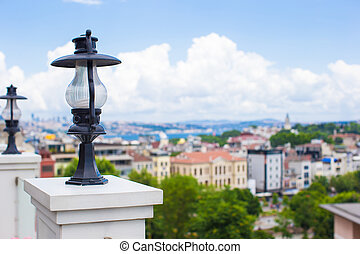 View of the Istanbul's skyline from terrace, Turkey.