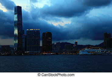 View of the Kowloon, Hong Kong.