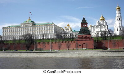 View of the Kremlin in Moscow in the sunny summer day