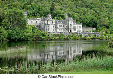 View of the Kylemore Abbey Castle, Galway, Ireland