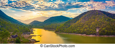 View of the lake at sunset. Panorama landscape