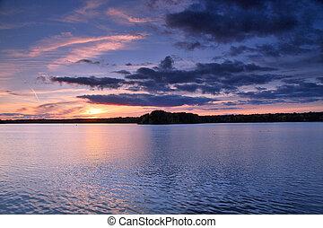 View of the lake at sunset