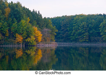 View of the lake in the fall.