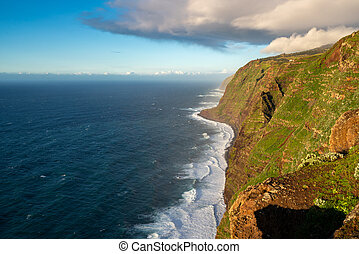 View of the landscape from Ponta do Pargo lighthouse at sunset
