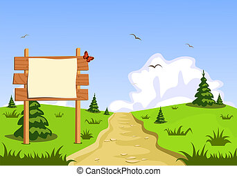 View of the landscape in front of blank blackboard navigation