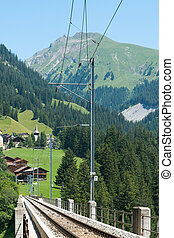 view of the Langwies Viaduct in the mountains of Switzerland near Arosa