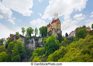 View of the Lichtenstein castle on cliff, Germany