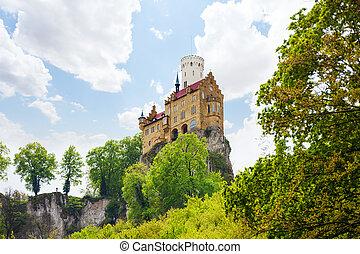 Lichtenstein castle on top of the rock cliff
