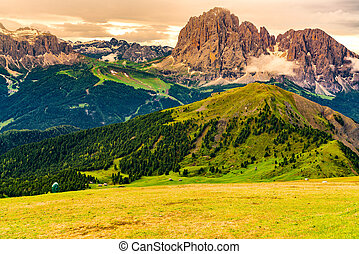 View of the limestone Italian Alps, the Dolomites.
