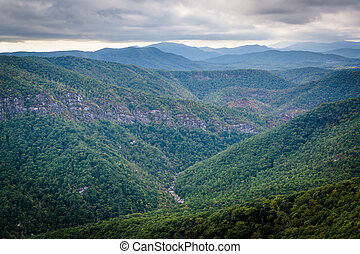 View of the Linville Gorge from Hawksbill Mountain, in...