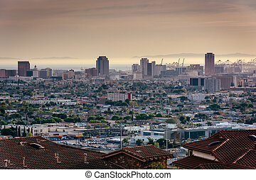 View of the Long Beach skyline from Hilltop Park, in Signal...