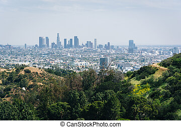 View of the Los Angeles skyline from Mulholland Drive, in Los Angeles, California.