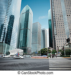 view of the lujiazui financial center in shanghai - the...
