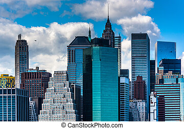 View of the Manhattan skyline from Brooklyn Heights, New York.