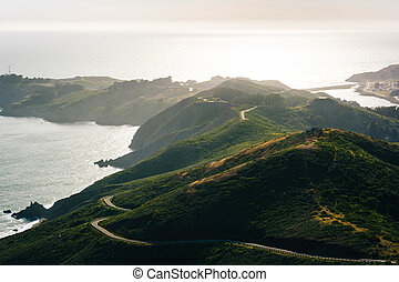 View of the Marin Headlands from Hawk Hill, Golden Gate National Recreation Area, in San Francisco, California.