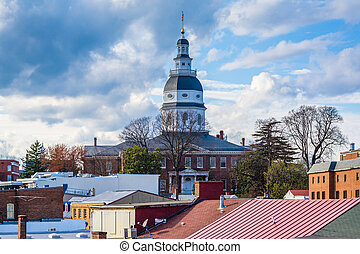 View of the Maryland State House, in Annapolis, Maryland.