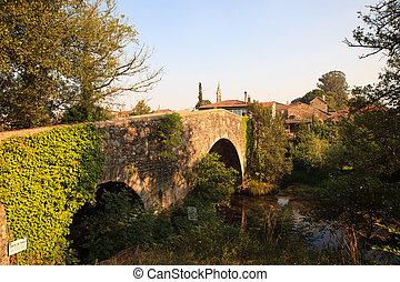 Mediaeval bridge in Furelos - View of the Mediaeval bridge...