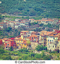 Medieval City - View of the Medieval City in Italian Alps, ...